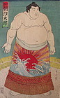 Antique Japanese Utagawa Kuniyoshi Sumo Wrestler Print