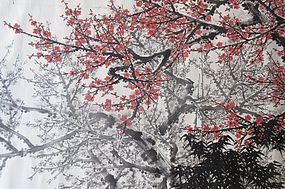 Antique Chinese Large Painting of Cherry Blossoms signed Guang San Yu