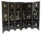 Chinese Six Panel Lacquer Coromandel Screen w/ Hardstone Inlay