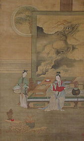 Antique Chinese Scroll signed Qiu Ying