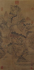 Chinese Painted Copy of a Landscape Scroll by Bian Lu