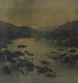 """Antique Japanese Velvet Painting """"Yuzen Birodo"""""""