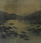 "Antique Japanese Velvet Painting ""Yuzen Birodo"""