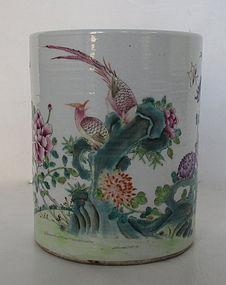 Antique Chinese Famille Rose Porcelain Brush Pot