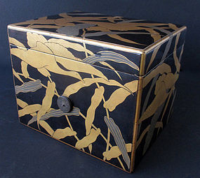 Japanese Antique Lacquer Box with Geese