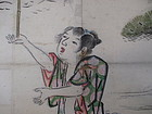 Antique Japanese Scroll of a Happily Married Couple with Rakes