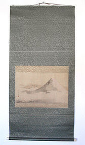 Japanese Antique Mt. Fuji Scroll Painting by Kazan