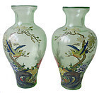 Chinese Pair of Painted Peking Glass Vases