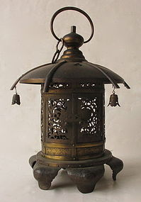 Antique Japanese Copper Lamp with Peonies
