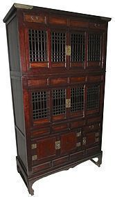 Antique Korean Two Section Lattice Kitchen Chest