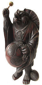 Antique Japanese Edo Period Tanuki Statue