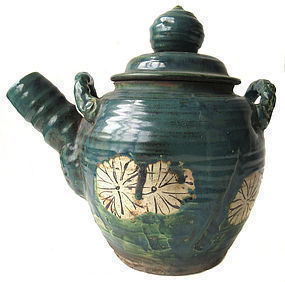 Antique Japanese Oribe Ceramic Tea Pot