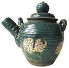Antique Japanese Oribe Ceramic Tea Pot