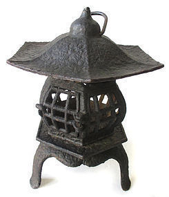 Japanese Antique Iron Lantern on Three Feet