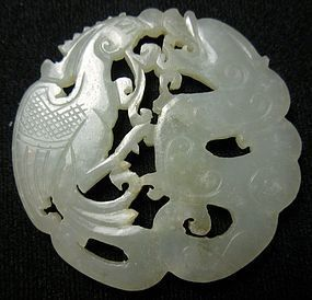 Antique Chinese Jade Carving of Dragon and Phoenix