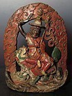 Antique Tibetan Clay Statue of Dorje Shugden on Lion