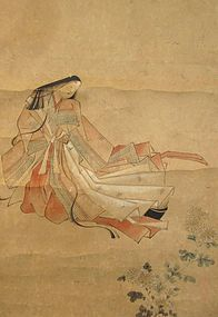Antique Japanese Scroll Painting of Lady