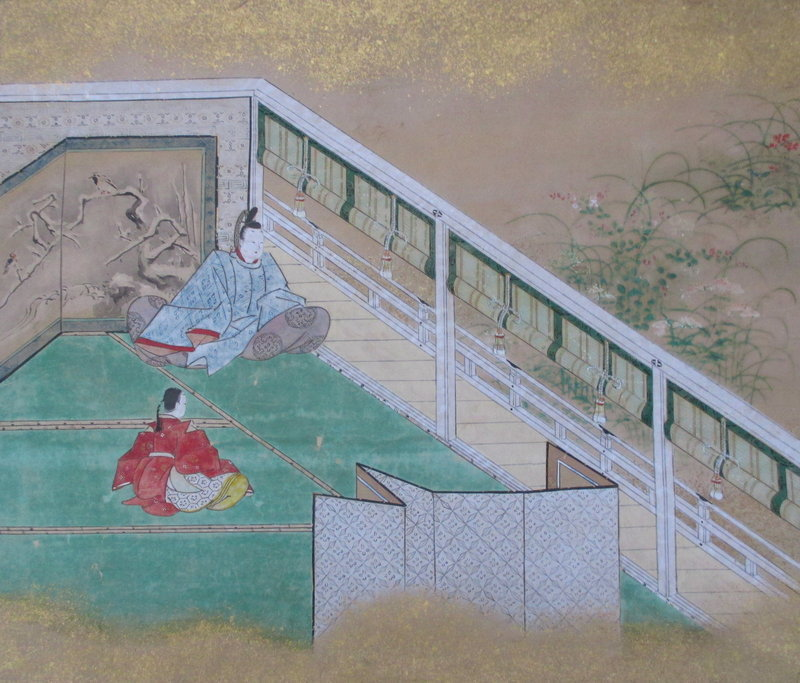 Japanese Tosa School Scroll Painting of Scene From Tale of Genji