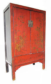 18th Chinese Antique Red and Gold Lacquer Cabinet