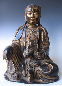 Chinese Qing Dynasty Lacquered Bronze Quanyin and Child