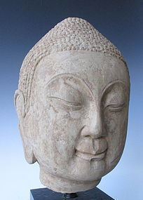 Chinese Northern Qi Dynasty Sandstone Buddha Head