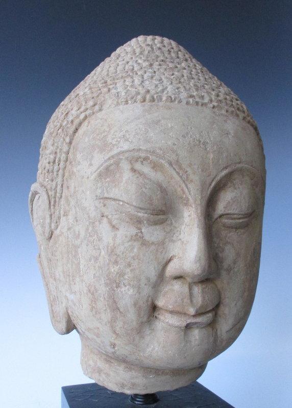 Chinese Northern Qi Dynasty Sandstone Buddha Head
