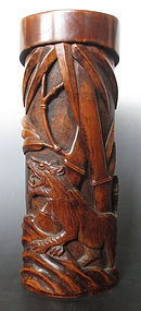 Japanese Antique Carved Bamboo Container with Tiger