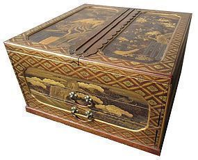 Antique Japanese Gilt Lacquer  Box w/ Tomobako