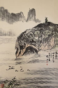 Antique Chinese Scroll of Guilin Scene