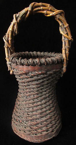 Antique Japanese Hourglass Shape Ikebana Basket