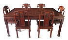 Beautiful Chinese Burl Hardwood Table with 8 Chairs