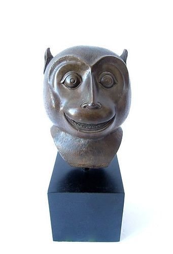 Japanese Bronze Monkey Bust with Iron Stand