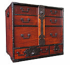 Japanese Antique Keyaki Tansu with Locking Bar