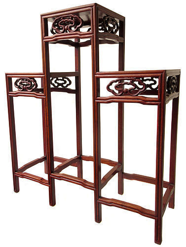 Chinese Three Tiered Hardwood Stand