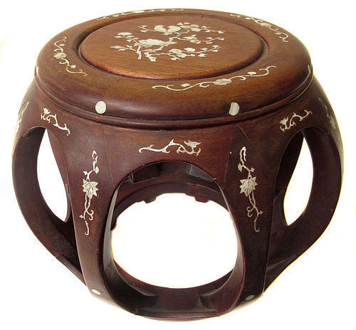 Chinese Inlaid Barrel Stool