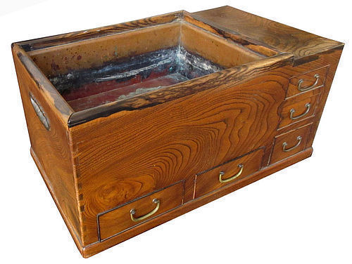 Antique Japanese Hibachi with Glass