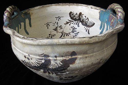 Antique Japanese Oribe Ceramic Bowl