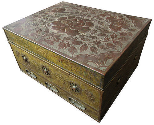 Antique Japanese Buddhist Sutra Box with Peonies