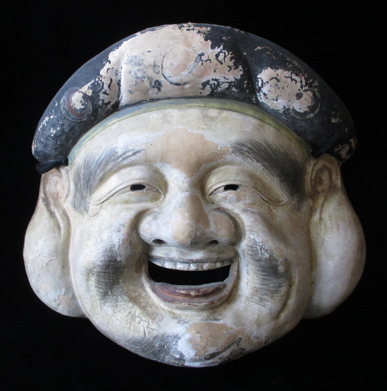 Large and dramatic Japanese Ceramic Mask of Daikoku