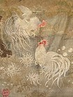Japanese Antique Embroidered Silk Wall Hanging