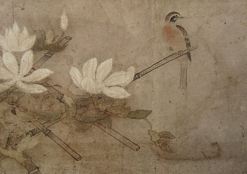 Antique Chinese Scroll with Bird on Bamboo