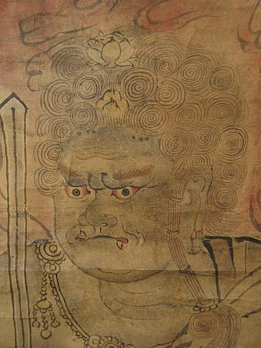 Edo Period Antique Japanese Fudo Myo-O Scroll