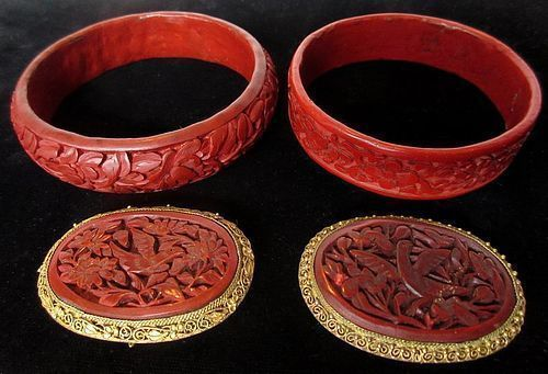 Set of Chinese Cinnabar Jewelry Items