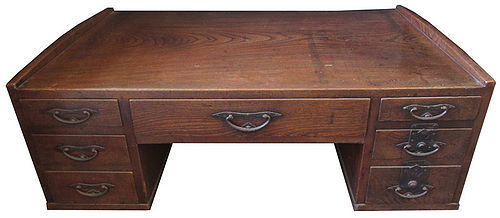 Exceptional Antique Japanese Keyaki Desk
