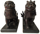 Antique Japanese Pair of Carved Temple Fu Dogs