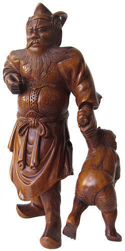 Japanese Signed Okimono - Shoki the Demon Queller