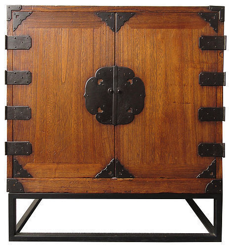 Rare Antique Japanese Two Door Tansu w/ Stand - Japanese, Furniture, Natural Finish Tansu From The Zentner Collection