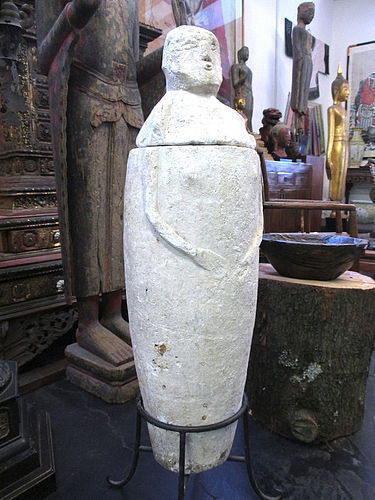 Rare Antique Carved Limestone Burial Jar from the Philippines