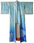 Rare Japanese Blue Chirimen Silk Shibori Kimono
