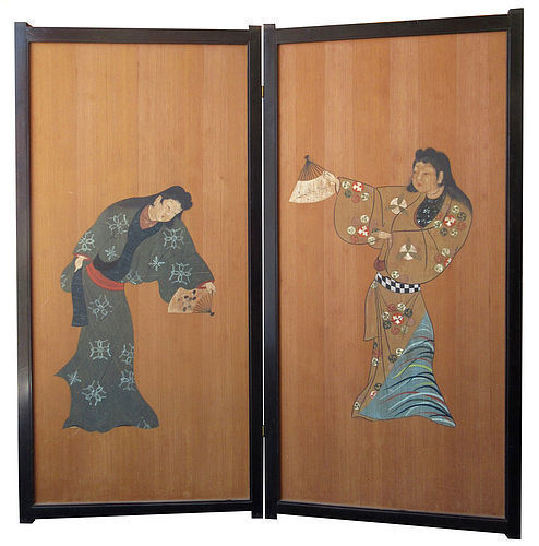 Antique Japanese 2-Panel Bijin Screen